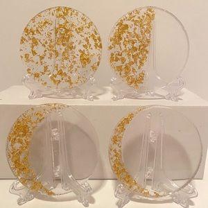 Set of 4 Celestial Moon Coasters. Handmade Resin
